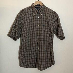 Faconnable brown plaid button down shirt L
